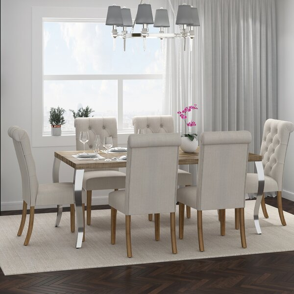 Rahman 7 Piece Solid Wood Dining Set by Gracie Oaks