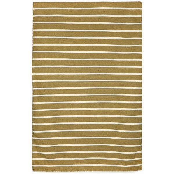 Ranier Hand-Woven Pinstripe Khaki Indoor/Outdoor Area Rug by Beachcrest Home