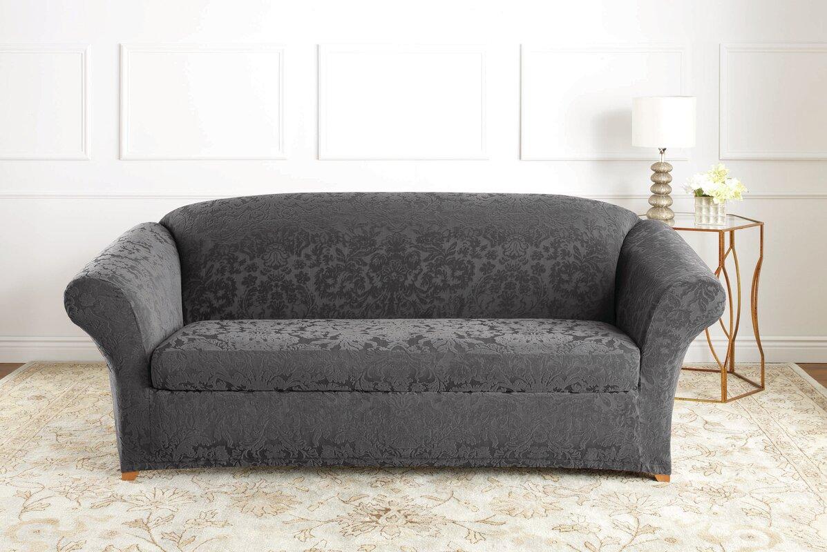 sure fit stretch jacquard damask box cushion sofa. Black Bedroom Furniture Sets. Home Design Ideas