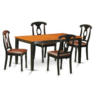 Pillar 5 Piece Wood Dining Set with Rectangular Table Top By August Grove
