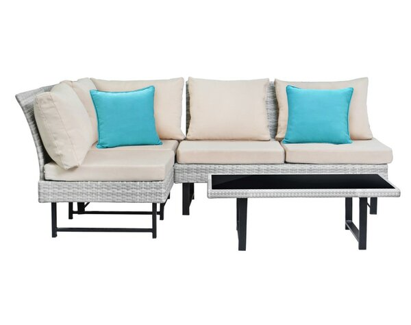 Getty 4 Piece Rattan Sofa Set with Cushions by Ebern Designs