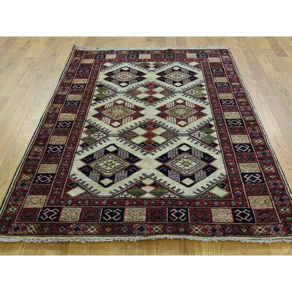 One-of-a-Kind Begonia Sari Turkoman Handwoven Ivory Wool Area Rug by Isabelline