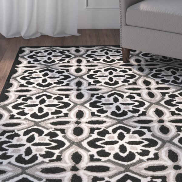 Doyle Black/Ivory Outdoor Area Rug by Winston Porter