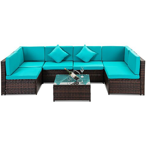 Veldhoven Patio Furniture 7 Piece Rattan Sectional Seating Group with Cushions by Wrought Studio