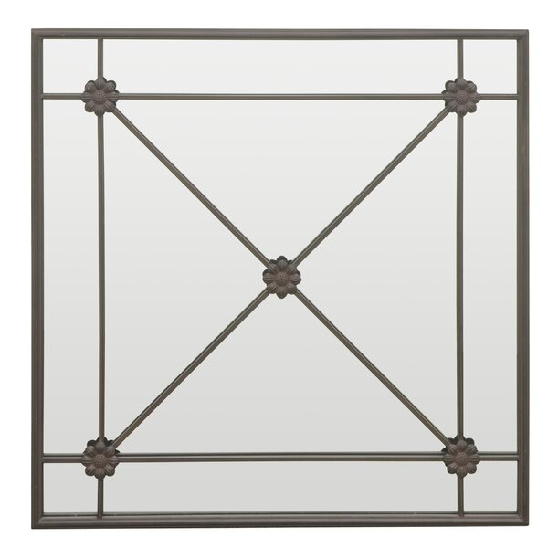 Cross Bar Detailing Metal Wall Mirror by Three Hands Co.