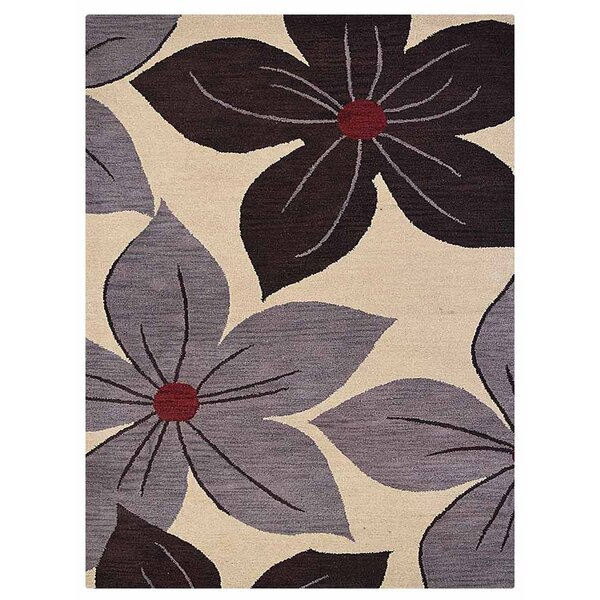 Camptown Floral Hand-Tufted Wool Cream Area Rug by Red Barrel Studio
