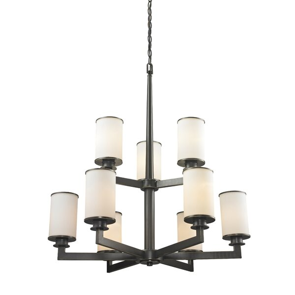 Crumley 9-Light Shaded Tiered Chandelier By Breakwater Bay