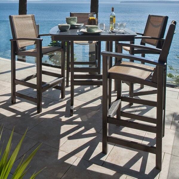 Coastal 5 Piece Bar Height Dining Set by POLYWOOD®