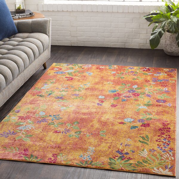 Lillo Vibrant Floral Yellow/Orange Area Rug by Bungalow Rose
