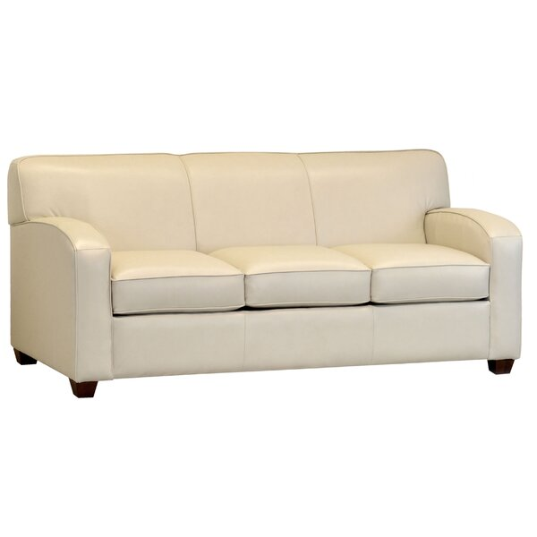 Made In Usa Wilhelma Cream Top Grain Leather Sofa By Ebern Designs
