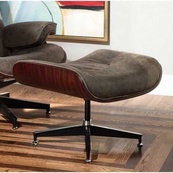 Clint Swivel Leather Tufted Ottoman By Corrigan Studio
