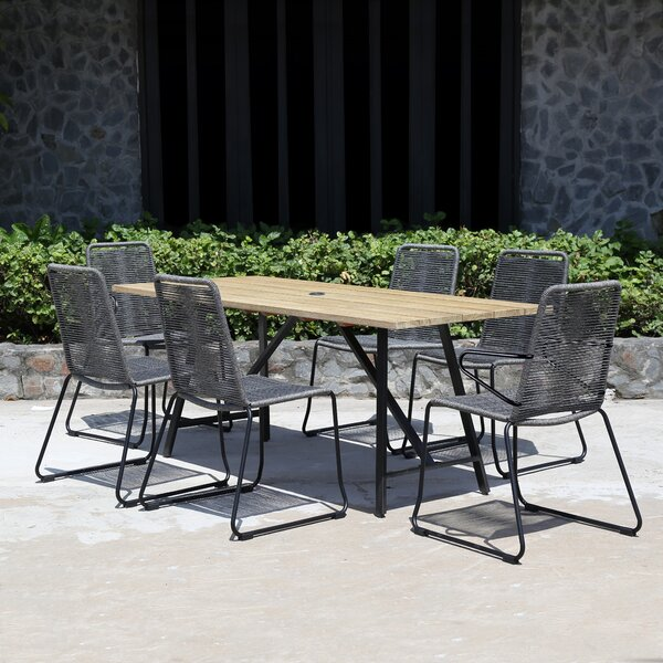 Temples Eucalyptus and Rope 7 Piece Dining Set by Brayden Studio