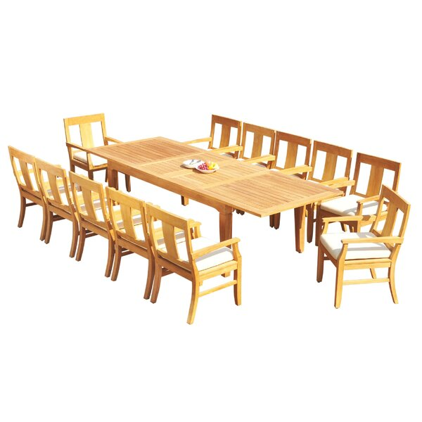 Jan 13 Piece Teak Dining Set by Rosecliff Heights