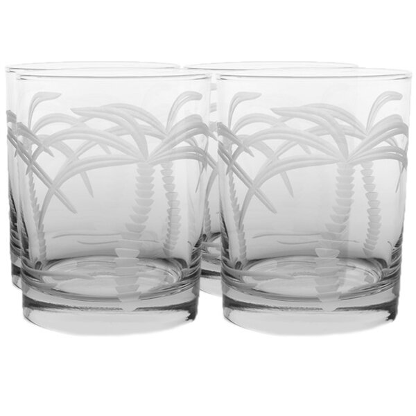 Palm Tree 14 Oz Double Old Fashioned Glass (Set of 4) by Rolf Glass