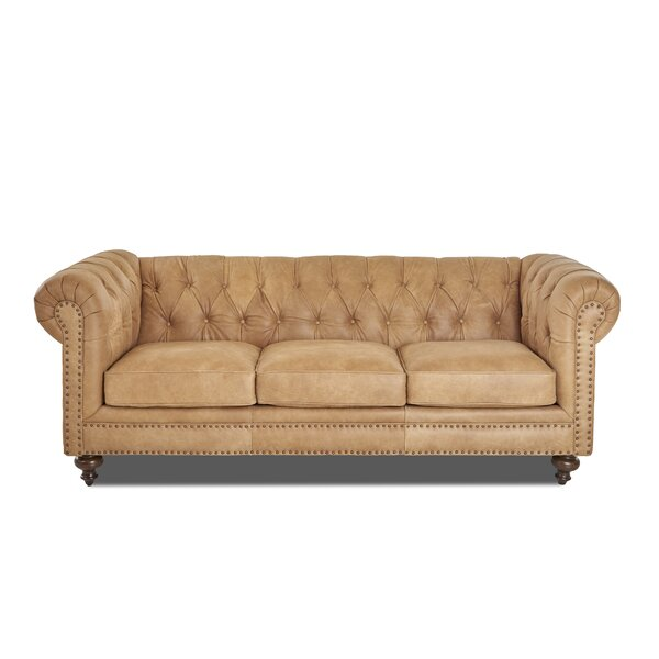 Kavya Leather Chesterfield Sofa by Canora Grey