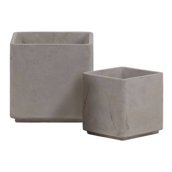 Cement Square 2 Piece Pot Planter Set by Urban Trends