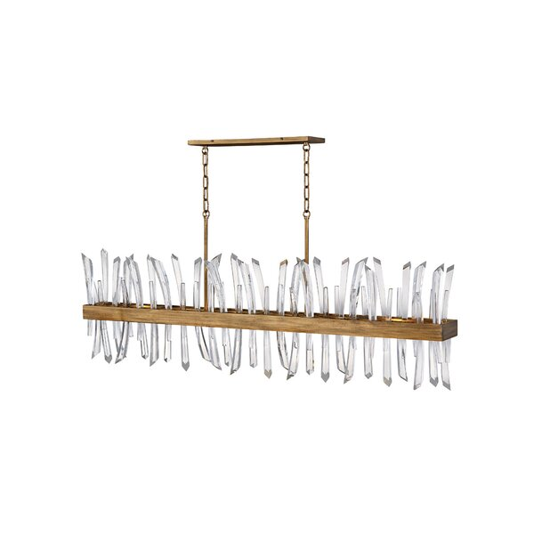 6 - Light Unique Rectangle Chandelier with Crystal Accents by Fredrick Ramond Fredrick Ramond