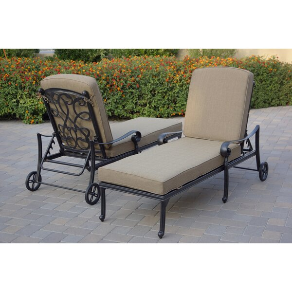 Windley Reclining Chaise Lounge with Cushion (Set of 2)