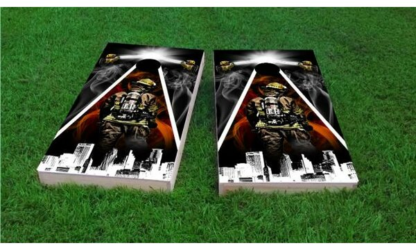 Firefighter City Scape Cornhole Game (Set of 2) by Custom Cornhole Boards