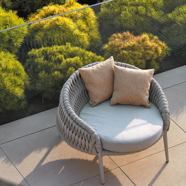 Partlow Round Patio Chair with Sunbrella Cushions by Bungalow Rose