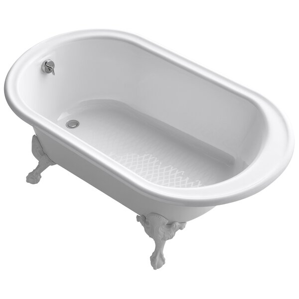 Transitional 66 Clawfoot Bath Tub with White Exterior, Less Feet by Kohler