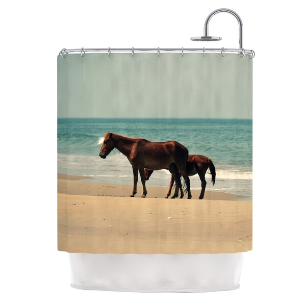 Sandy Toes by Robin Dickinson Beach Horses Shower Curtain by East Urban Home