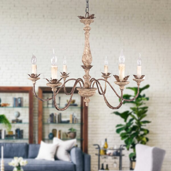 Amado 6 - Light Candle Style Classic / Traditional Chandelier with Wrought Iron Accents by Ophelia & Co. Ophelia & Co.