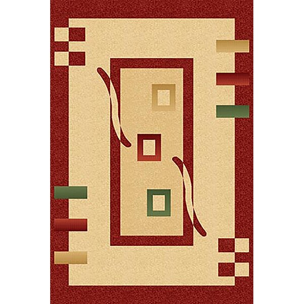 Mccampbell 3D Yellow/Red Area Rug by Ivy Bronx