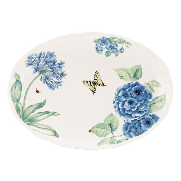 Butterfly Meadow Blue Oval Platter by Lenox
