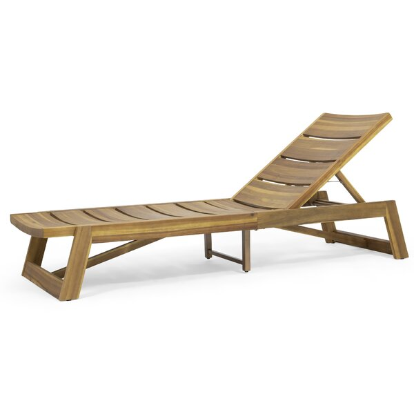 Nowakowski Acacia Wood Reclining Chaise Lounge (Set of 4) by Foundry Select