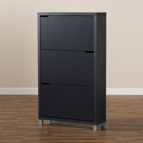 Wood 18 Pair Shoe Storage Cabinet