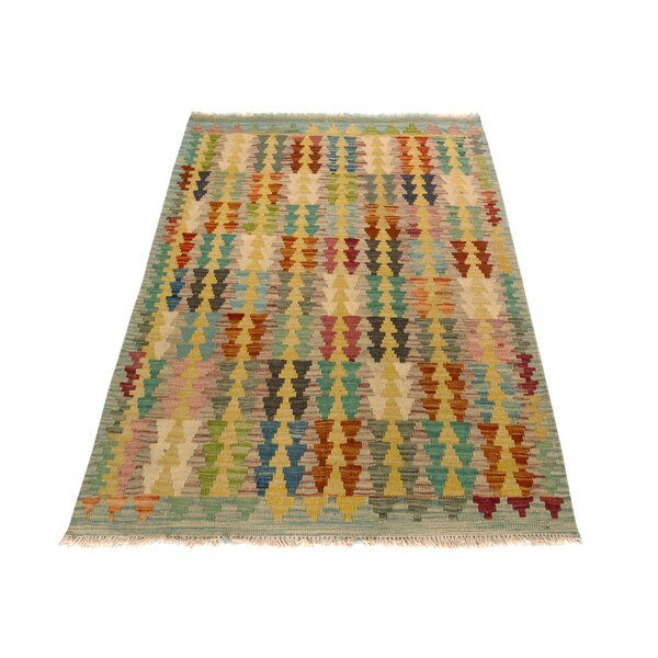 One-of-a-Kind Bakerstown Kilim Hand-Woven Blue/Rust Area Rug by Bloomsbury Market