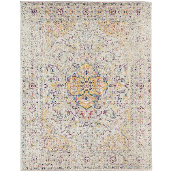 Kinslee Beige/Yellow Area Rug by Bungalow Rose