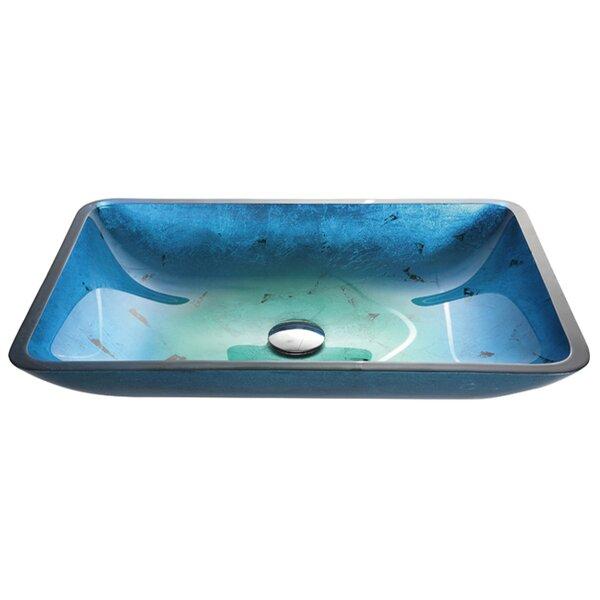 Galaxy Glass Rectangular Vessel Bathroom Sink by Kraus