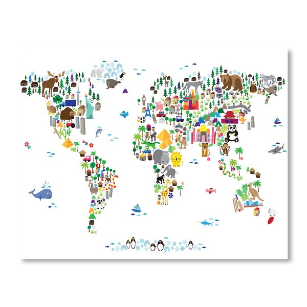 World Animal Map Wall Mural by Americanflat