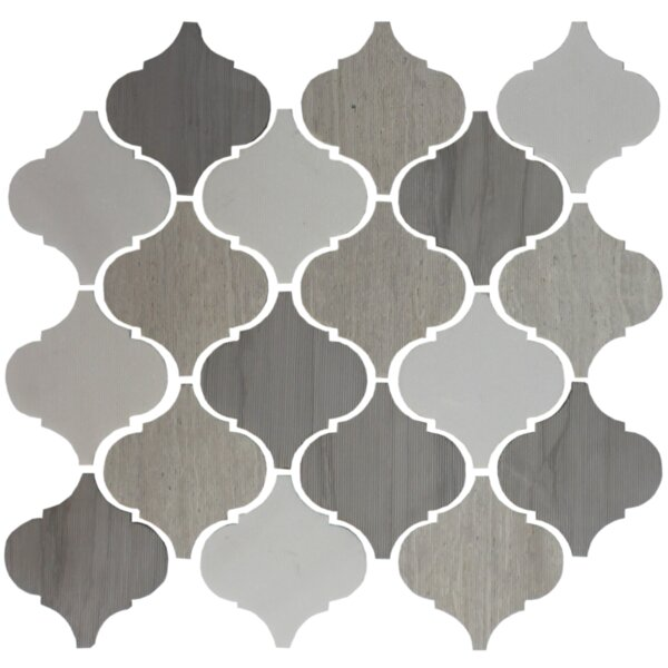 Teardrop Lined 4 x 4 Slate Mosaic Tile in Gray/White by Susan Jablon