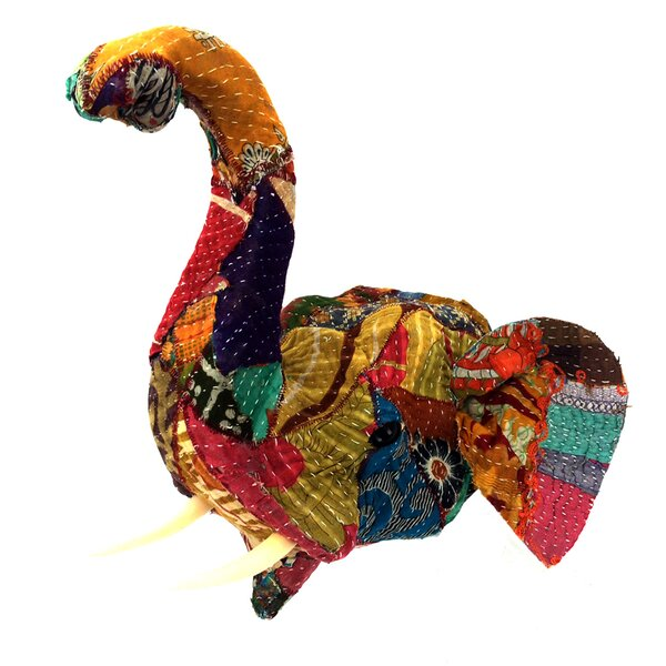 Vintage Sari Fabric Elephant Head Bust Wall Décor by KMP GIFTS