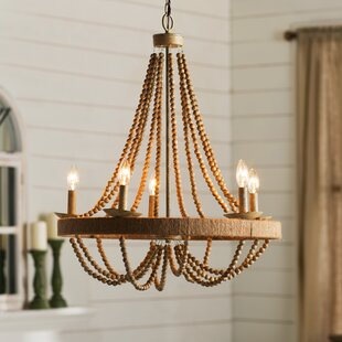 Wood bead chandelier wayfair tremiere 5 light candle style chandelier aloadofball Image collections
