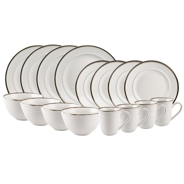 Featherste Rim 16 Piece Dinnerware Set, Service for 4 by Williston Forge