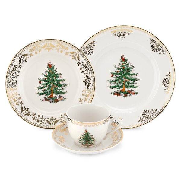 Christmas Tree Gold 4 Piece Place Setting, Service for 1 by Spode