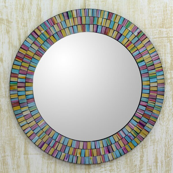 Rainbow Halo Artisan Crafted Mosaic Wall Mirror by Novica