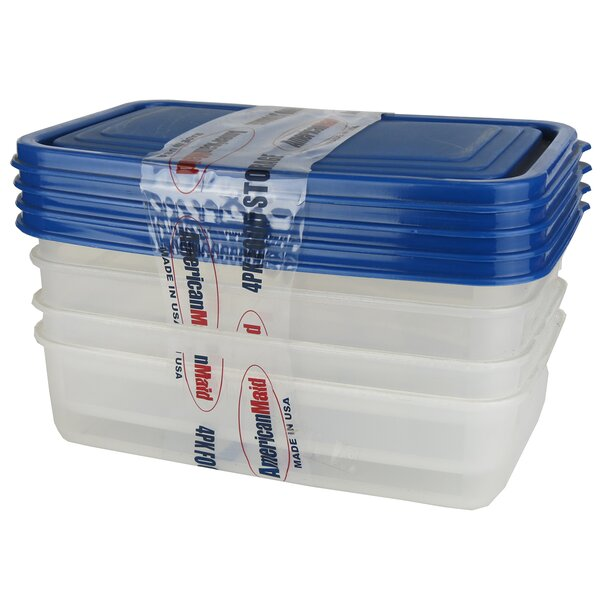 Rectangle 4 Container Food Storage Set by American Maid Plastic