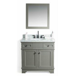 Buy luxury Rhine Solid Wood 37 Single Bathroom Vanity Set with Mirror ByLaurel Foundry Modern Farmhouse