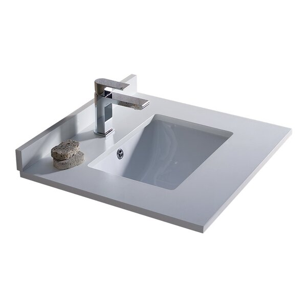 Oxford Ceramic Rectangular Drop-In Bathroom Sink with Overflow by Fresca
