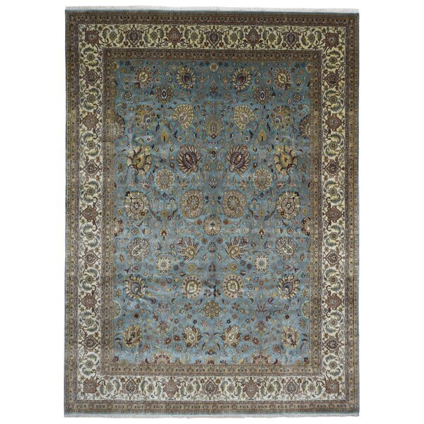 One Of A Kind Exmore Oriental Hand Knotted Wool Blue Yellow Area Rug By Isabelline.
