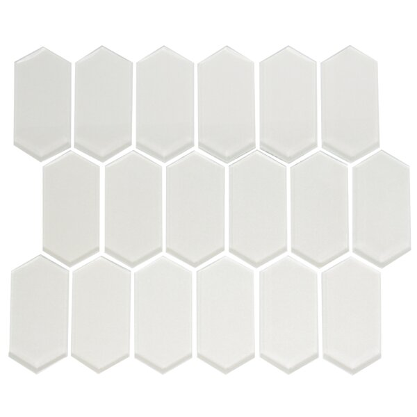Stretched Hexagon Pearlescent Random Sized Glass Mosaic Tile in White by Susan Jablon