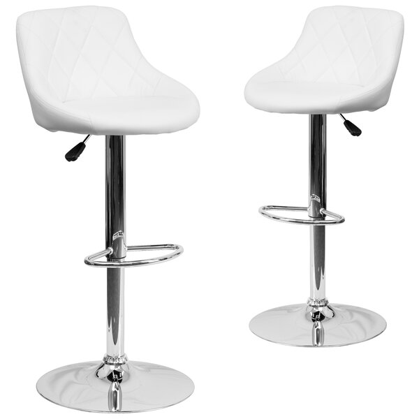 Fleur Adjustable Height Swivel Bar Stool (Set of 2) by Wrought Studio