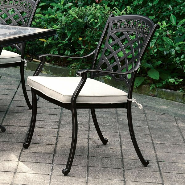 Cayuga Patio Dining Chair with Cushion (Set of 2) by Canora Grey