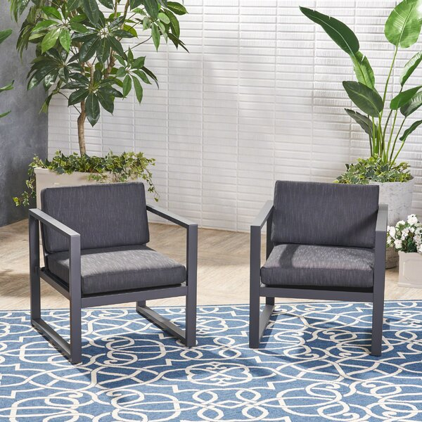 Mirando Patio Chair with Cushions (Set of 2) by Mercury Row