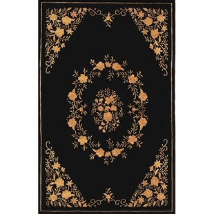 Compare Neo Nepa Aubusson Flowers Black Area Rug ByAmerican Home Rug Co.